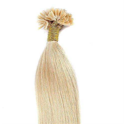 45cm-55cm hair extension cheratina capelli veri naturali 100% remy human hair pre bonded u-tip keratina allungamento, 100 ciocche - 45cm-50g, 24# biondo chiaro dorato