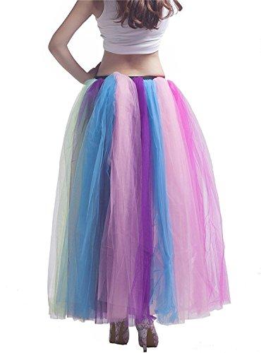 Izanoy Damen Regenbogen Tutu Petticoat Rock Lang Krinoline Unterrock Slip Regenbogen 2