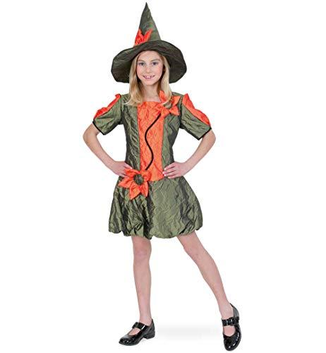 Elfe Kostüm Mystische - KarnevalsTeufel Kinderkostüm Waldfee Kleid und Hut in grün-orange Hexe (128)