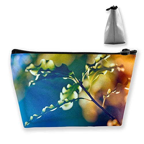 Makeup Bag Cosmetic Leaf Plant Branch Leaves Portable Cosmetic Bag Mobile Trapezoidal Storage Bag Travel Bags with Zipper Baseball-mobile