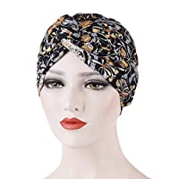 Hijab Cap Hat for Women, Floral Print Front Twist Cross Women Turban Hat Cap Headwrap Headwear - Black