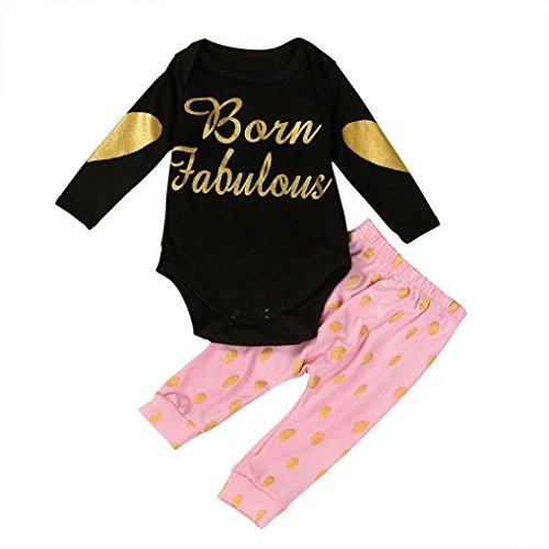 Culater® Infante appena nato Lettera Ragazze manica lunga lamina d'oro baby Stampa pagliaccetto tuta vestiti (12M)