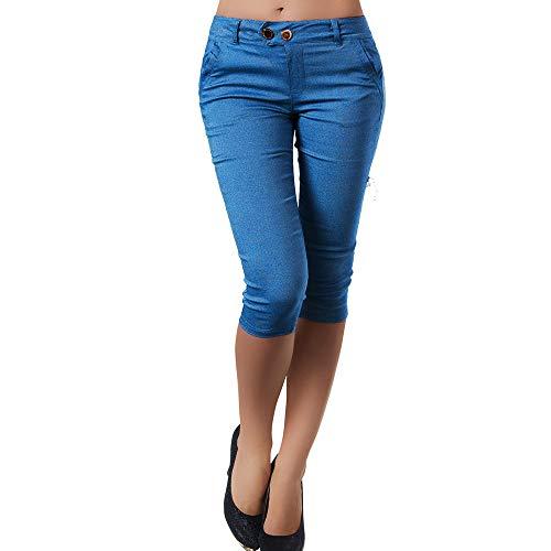 MORCHAN  Mode Femmes, Plus la Taille Solide Bouton Fermeture éclair Pantalons décontractés Pantalon Longueur Mollet Jeans Combinaisons Pantalon Court Collants Leggings (5XL,Bleu)