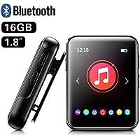 """MP3 BENJIE 16GB 1.8"""" MP3 Player Voller Touchscreen MP3 Player Bluetooth mit Lautsprecher, FM Radio, Diktiergerät mit Kopfhörern, E-Book, Video Player, Wecker, Speichererweiterbar bis zu 128 GB"""
