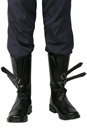 Herren Cosplay Schuhe PU Leather Schwarz Flat Stiefel Boots Halloween Fancy Dress for Erwachsene (Kostüm Halloween Dishonored)
