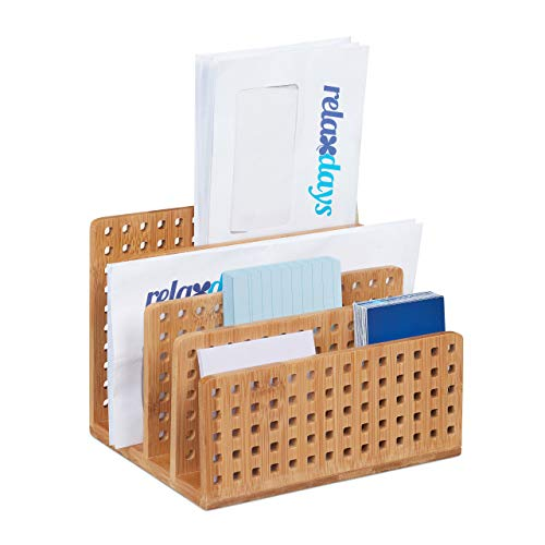 Relaxdays Dokumentenhalter Bambus, Briefablage, Büroablage, Sortieren, Prospekthalter HBT 13,5 x 17,5 x 14 cm, natürlich