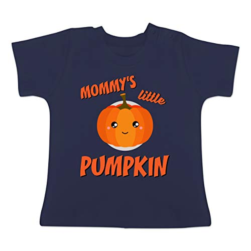 Anlässe Baby - Mommys Little Pumpkin Halloween - 12-18 Monate - Navy Blau - BZ02 - Baby T-Shirt Kurzarm