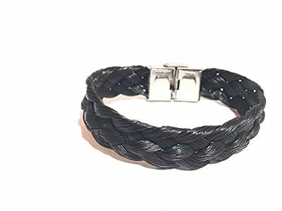 Bracelet tressage large en véritable crins de cheval personnalisable fermoir acier