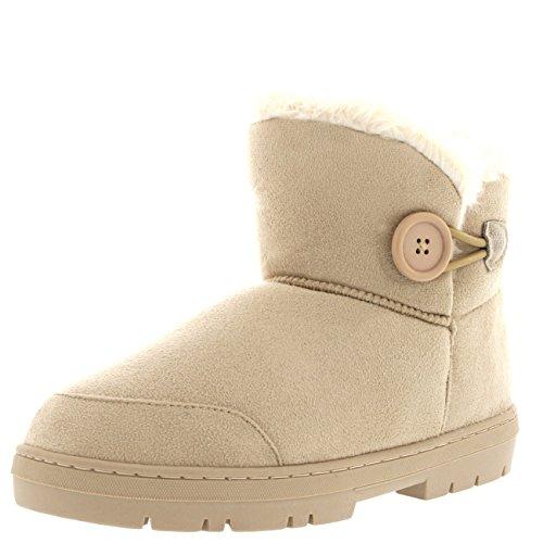 Botão Senhoras Mini-pele Do Inverno Alinhou Sapatos Quentes Botas De Granizo Plana Bege
