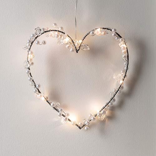 Lights4fun 10er Micro LED Herz Silhouette perlweiß Batteriebetrieb mit Perlen Timer