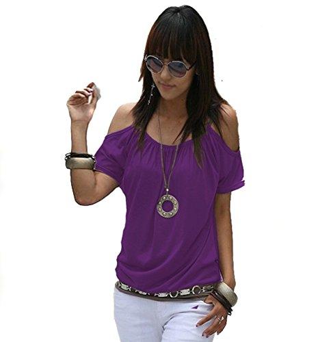 Mississhop Japan Style Damen Top T - Shirt Bluse Longshirt Tunika Tanktop Oberteil NATA Violett XL - Lila Blume Shirt