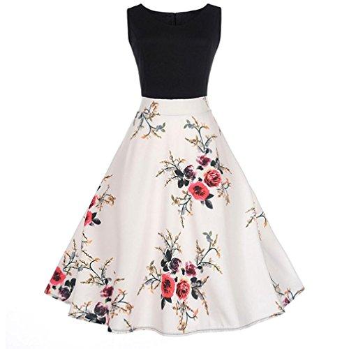 TWIFER Damen Vintage Floral Bodycon Print Ärmelloses beiläufiges Abendkleid Party Kleid (Uniform Kleid Weiße)