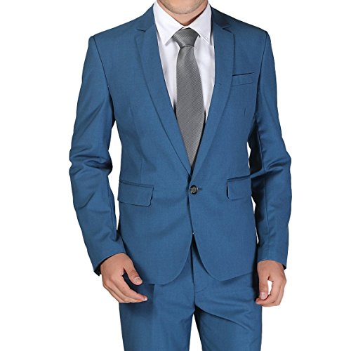 Lilis® Herren One Button Formelle 2-teilige Anzüge Smoking Multi-Color Slim Fit Jacke Tux & Hosen