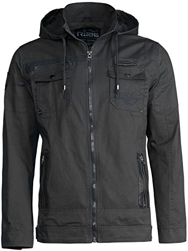 Trisens Herren ÜBERGANGSJACKE Military Style Kapuze Jacke Army Fliegerjacke, Farbe:Schwarz, Größe:L Military Style Jacke