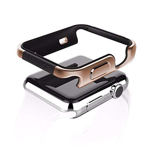 qichenlu [Defense Edge Gold&Schwarz Apple Watch 40mm CNC Eloxiertes Aluminium Rahmen Case,Apple Watch Hülle Uhr Gehäuse Schutz Cover Stoßfest Metall Bumper kompatibel mit iWatch 40mm Gold Gehäuse Cover