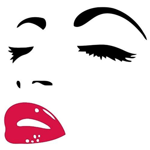 heit Audrey Hepburn Augen Rote Lippen Abnehmbares Zimmer Dekor Wand Aufkleber ()