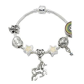 55289fb5c2ca I Believe in Unicorn – Pulsera para niñas con abalorios y colgante de  unicornio (incluye caja de regalo)