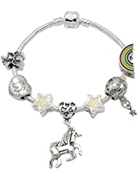 I Believe in Unicorn - Pulsera para niñas con abalorios y colgante de unicornio (incluye caja de regalo)