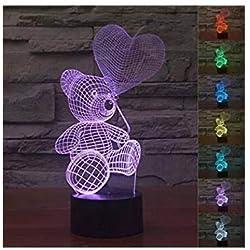 3d Illusion Oso espera amor corazon globos Lámpara luces de la noche ajustable 7 colores LED 3d Creative Interruptor táctil estéreo visual atmósfera mesa regalo para Navidad