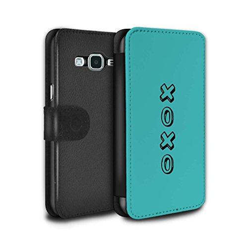STUFF4 PU Pelle Custodia/Cover/Caso/Portafoglio per Samsung Galaxy J3 / Blu/Abbracci e Baci / Cuore XOXO disegno
