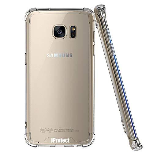 JProtect Hülle für Samsung Galaxy S6 Shockproof   Transparentes Stoßsicheres TPU   Bumper case Cover Schutzhülle   Ideale Passform   Unterstützt Kabelloses Laden  