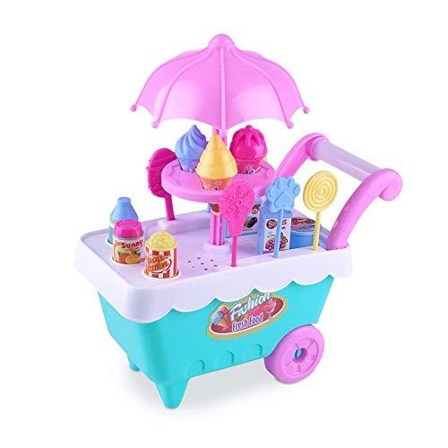 Oksea Kinder Eiswagen Spielzeug mit Eiswagen Eiscreme Trolley Ice Cream Wagen Süßigkeiten mit Musik und Licht Rollenspiel Kinder Spielzeug Pretend Play Toys Spielwaren (A)