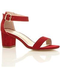 Y esSandalias Hebilla Amazon ZapatosZapatos Complementos Rojas Nm0wv8n