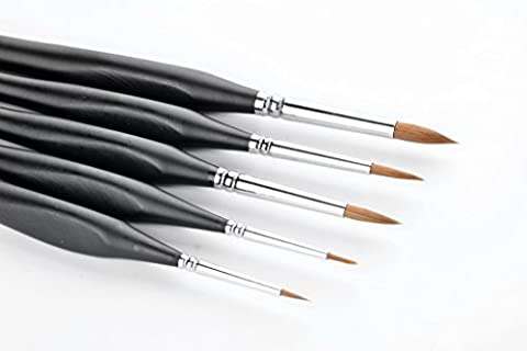 5 Pcs Best Professional Siberian Kolinsky Sable Detail Paint Brush,High Quality Miniature Brushes Will Keep a Fine Point and Spring, For Watercolor, Oil, Acrylic, Nail Art &