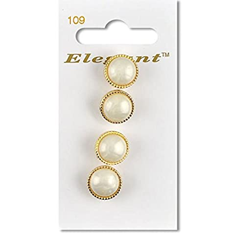 Gold Trim Pearl 12mm Buttons Sewing Craft Knitting Shank (4 Per Card)