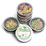 Food Choice Contenedor de Comida con Tapa, Control de Porciones y Almacenamiento. Apilable, Sin BPA, 1 Compartimiento, Redondo, Apto para Congelador, Lavavajillas y Microondas Adultos / Niños. Pack 8u.