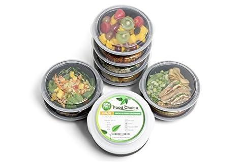 Boîtes avec couvercles pour conserver ou emporter partout vos repas faits maison. Empilables, Rondes, Sans BPA, Compartiment unique - Passent au lave-vaisselle, au micro-ondes et au congélateur - Pour adultes et enfants (pack de