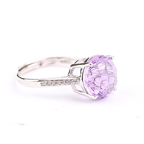 Ametista Argento sterling anello di fidanzamento con diamante febbraio Birthstone gioielli - Ametista Promise Ring