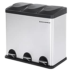 SONGMICS Recycling Bin with Lids for Kitchen 54 Litre Trash Can with Inner Bucket 3 Compartments & Stickers Included LTB54L