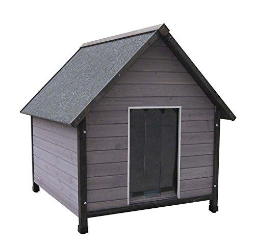 hundeinfo24.de Holz-Hundehütte mit Satteldach, farbig lasiert, inkl. Pendelklappe