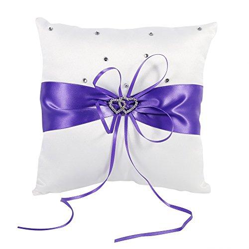 Braut Hochzeits Ringkissen Taschen Kissen Träger Mit Doppelten Herzen Dekoration, Elfenbein-Weiß / Rot / Blau / Lila 20cm × 20cm ( Farbe : Lila ) -