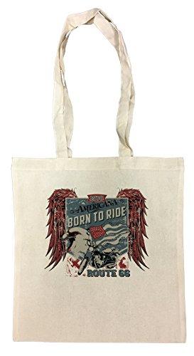 Erido Americana Born to Ride Einkaufstasche Wiederverwendbar Strand Baumwoll Shopping Bag Beach Reusable (T-shirt Aus Baumwolle Americana)