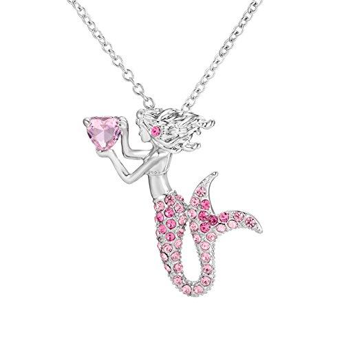 Cheerslife Meerjungfrau Anhänger Halskette für kleine Mädchen Teen Kids Fairytale Schmuck Geschenke Nickel frei einstellbare Kette 18