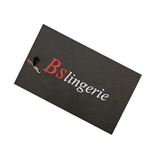 Corsetto nero e rosso Bslingerie®, da donna, in ecopelle PU, stile: gotico, punk. Black Knitting Patchwork