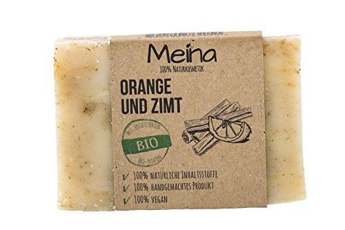 Meina Naturkosmetik - Seife mit Orange und Zimt (1 x 110 g) 100% natürliche, vegane, handgemachte Bio Naturseife - Körperpflege und Gesichtspflege -