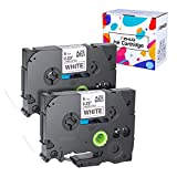 Hehua 2 X TZe-211 kompatibel Etikettenband P-Touch für Brother TZe211 TZ211, Standard laminiertes Etikettenband, schwarz auf weiß 6mm breit x 8m Länge