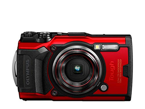 Olympus Tough TG-6 Digitalkamera (12 MP, 25-100mm 1: 2, 0 Objektiv, GPS, Manometer, Temperatursensor, Kompass) rot