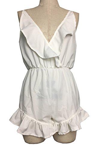Damen Reizvolle Einfarbig Tief V Ausschnitt Spielanzug ärmellos Boardshorts Neckholder Hüfthose Volants Overall Einteiler Short Hose Weiß