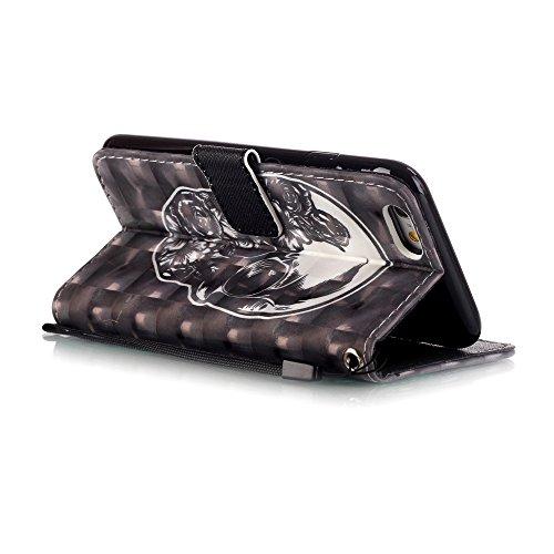 Etsue Custodia Per iPhone 6S,Flip/Wallet/Libro Leather Pu White Case Cover Con Supporto di Stand Protezione Caso Per iPhone 6/6S 4.7+Blu Pennino e scintillio di Bling Diamond Dust Plug colora Casuale &24