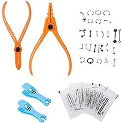 Body Piercing Kit, Einweg-Piercing-Set Einweg-Ohr-Deko-Tools Set aus Rapier-Tätowierungen mit Pin-Ring