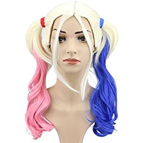 Parrucca rosa costume Cosplay Quinn Harley Suicide Squad Halloween Party Blu Gradiente Coda di cavallo