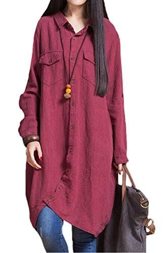 Women's Voguees Autumn Casual Patchwork Shirt With Front Buttons Vin Rouge