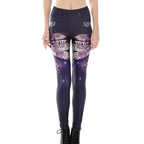 Frauen Winkel Flügel Gedruckten Hohe Taille Leggins Hose Schwarz (Frauen Leggings Versandkostenfrei)