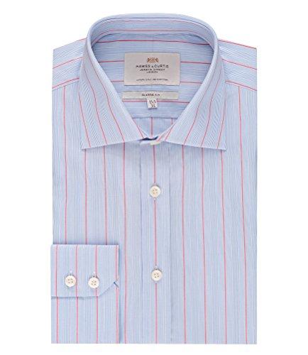 HAWES & CURTIS Herren Businesshemd Stripe Blue (Blue/Red)