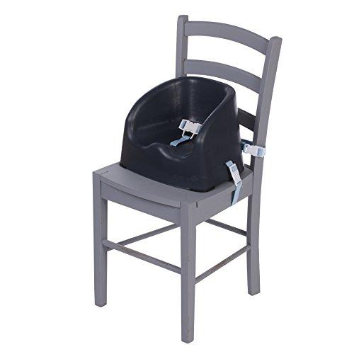 Safety 1st Easy Booster Sitzerhöhung aus Kunststoff, schnelle und einfache Anbringung auf allen gängigen Esstischstühlen, pflegeleichte Oberfläche, 3-Punkt-Gurt für einen sicheren Halt, grau