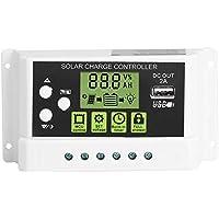 Akozon Panel solar Controlador de carga PWM Controlador inteligente de carga solar Regulador Salida USB 12V 24V 10/20 / 30A Pantalla LCD (KYZ-10A)